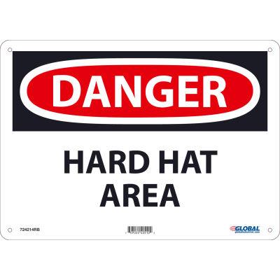 Global Industrial™ Danger Hard Hat Area, 10x14, Rigid Plastic