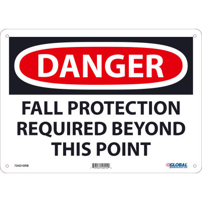 Global Industrial™ Danger Fall Protection Required Beyond This Point, 10x14, Rigid Plastic