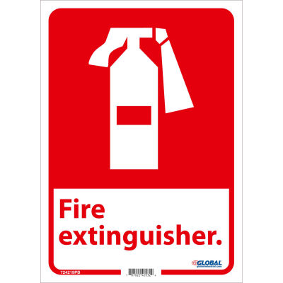 Global Industrial™ Fire Extinguisher Sign, 14x10, Pressure Sensitive Vinyl