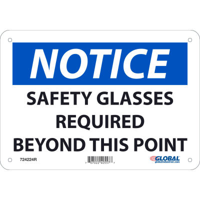 Global Industrial™ Notice Safety Glasses Required Beyond This Point, 7x10, Rigid Plastic