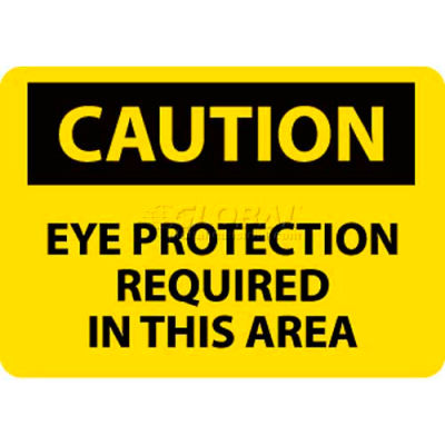 "NMC C26AB OSHA Sign, Caution Eye Protection Required In This Area, 10"" X 14"", Yellow/Black"