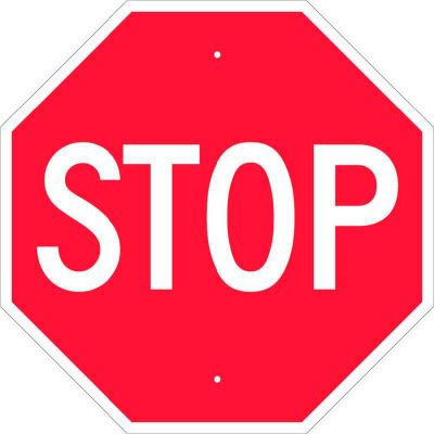 Panneau de signalisation NMC TM13H, panneau d'arrêt, 0,063 mil, 24 po x 24 po, blanc/rouge