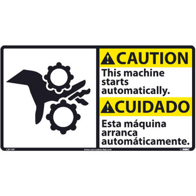 Bilingual Vinyl Sign - Caution This Machine Starts Automatically