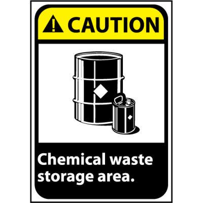 Caution Sign 14x10 Vinyl - Chemical Waste Storage Area