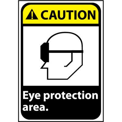 Caution Sign 14x10 Rigid Plastic - Eye Protection Area