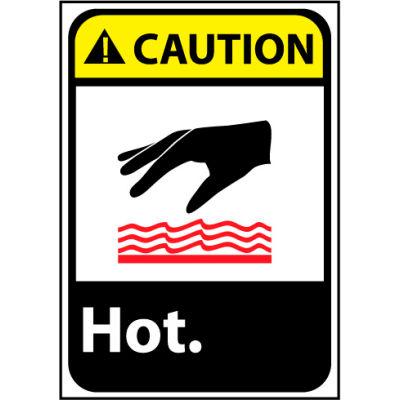 Caution Sign 14x10 Rigid Plastic - Hot