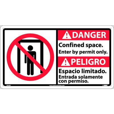 Bilingual Plastic Sign - Danger Confined Space Enter By Permit Only
