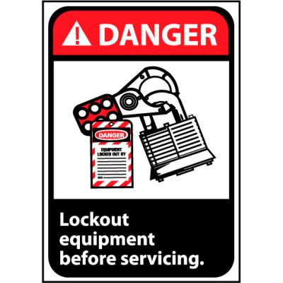 Danger Sign 14x10 Vinyl - Lock Out Equipment Before Servicing