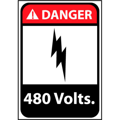 Danger Sign 14x10 Rigid Plastic - 480 Volts
