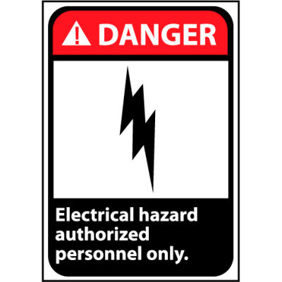 Danger Sign 14x10 Rigid Plastic - Electrical Hazard Authorized Personnel Only