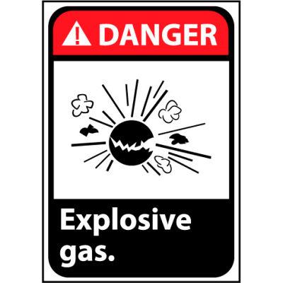 Danger Sign 14x10 Rigid Plastic - Explosive Gas