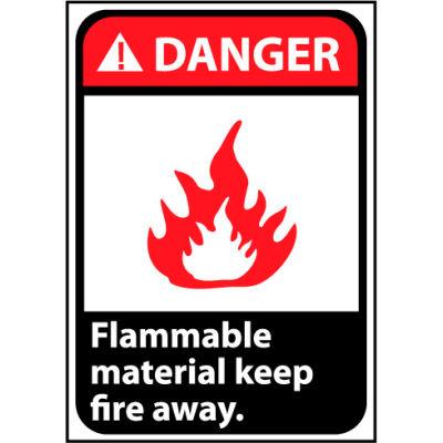 Danger Sign 14x10 Rigid Plastic - Flammable Material Keep Fire Away