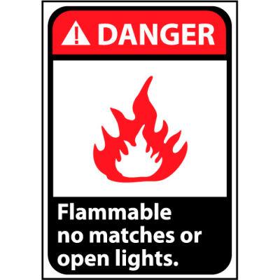 Danger Sign 14x10 Vinyl - Flammable No Matches Or Open Lights