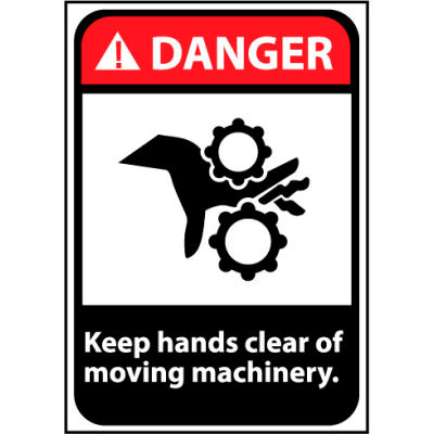 Danger Sign 14x10 Aluminum - Keep Hands Clear Of Moving Machinery