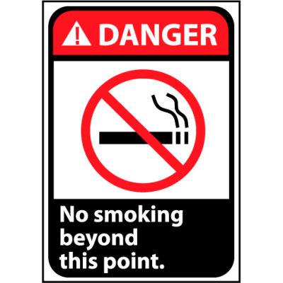 Danger Sign 10x7 Vinyl - No Smoking Beyond This Point