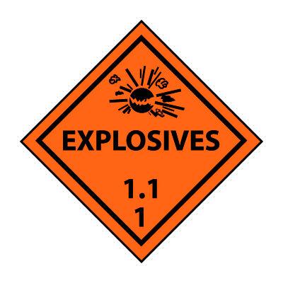 DOT Placard - Explosives 1.11