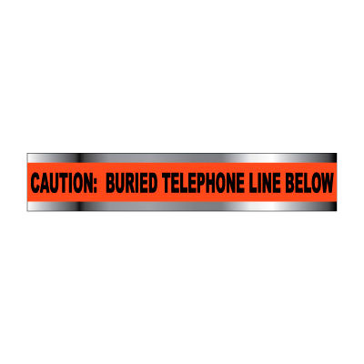 """Detectable Underground Warning Tape - Caution Buried Telephone Line Below - 2""""W"""