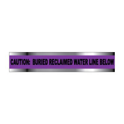 """Detectable Underground Warning Tape - Caution Buried Reclaimed Water Line - 3""""W"""