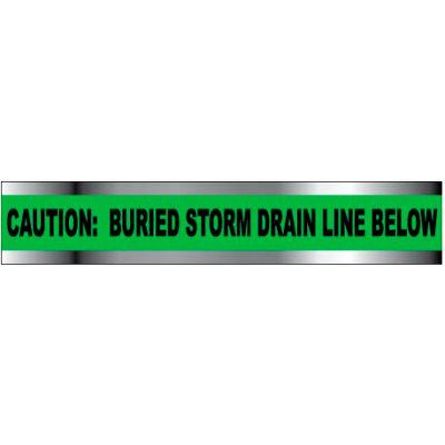 "Detectable Underground Warning Tape - Caution Buried Storm Drain Below - 6""W"