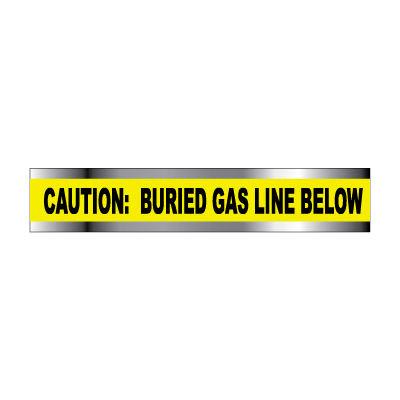 "Detectable Underground Warning Tape - Caution Buried Gas Line Below - 6""W"
