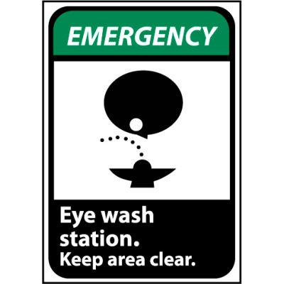 Emergency Sign 14x10 Vinyl - Eye Wash Station Keep Area Clear