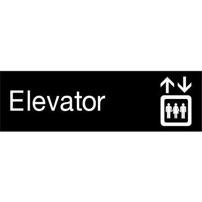 Engraved Sign - Elevator - Black