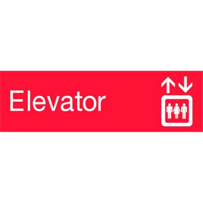 Engraved Sign - Elevator - Red