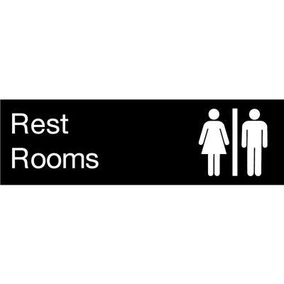 Engraved Sign - Rest Rooms - Black