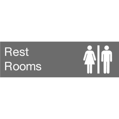 Engraved Sign - Rest Rooms - Gray