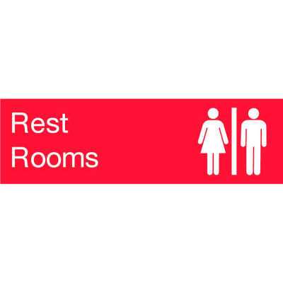 Engraved Sign - Rest Rooms - Red