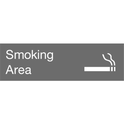 Engraved Sign - Smoking Area - Gray