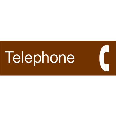 Engraved Sign - Telephone - Brown