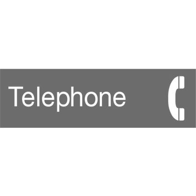 Engraved Sign - Telephone - Gray
