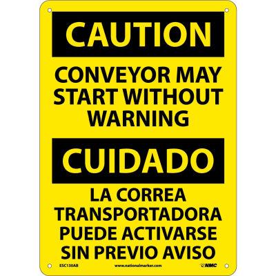 Bilingual Aluminum Sign - Caution Conveyor May Start Without Warning