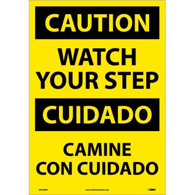 Bilingual Vinyl Sign - Caution Watch Your Step