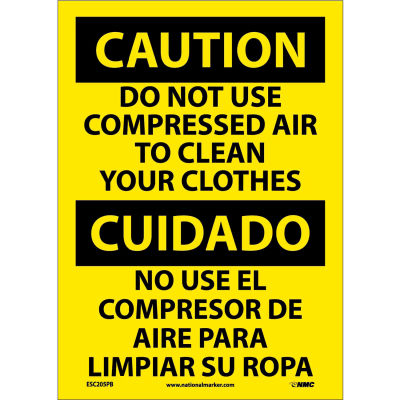 Bilingual Vinyl Sign - Caution Do Not Use Compressed Air To Clean Clothes