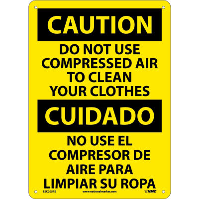 Bilingual Plastic Sign - Caution Do Not Use Compressed Air To Clean Clothes