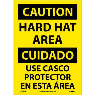 Bilingual Vinyl Sign - Caution Hard Hat Area