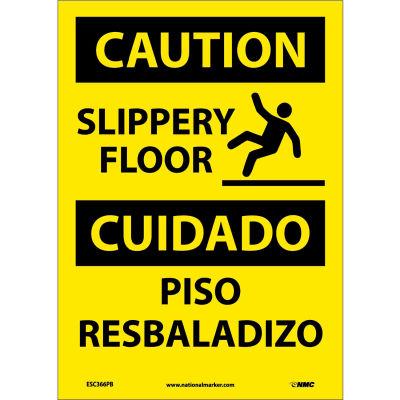 Bilingual Vinyl Sign - Caution Slippery Floor