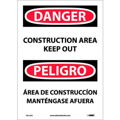 Bilingual Vinyl Sign - Danger Construction Area Keep Out