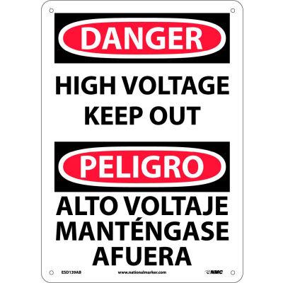 Bilingual Aluminum Sign - Danger High Voltage Keep Out