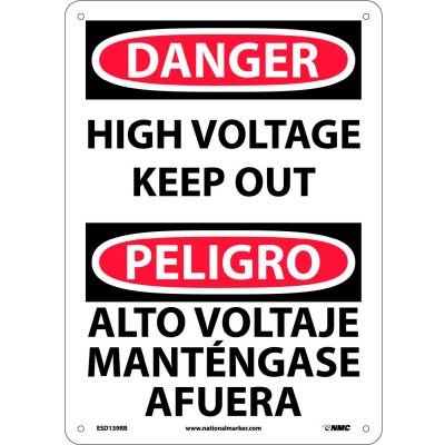 Bilingual Plastic Sign - Danger High Voltage Keep Out