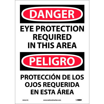 Bilingual Vinyl Sign - Danger Eye Protection Required In This Area