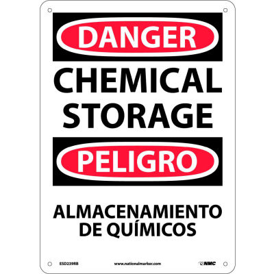 Bilingual Plastic Sign - Danger Chemical Storage
