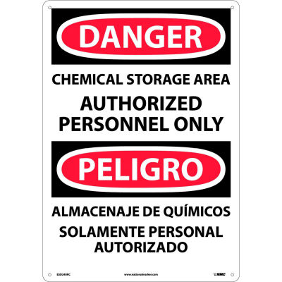 Bilingual Plastic Sign - Danger Chemical Storage Area Authorized Personnel Only
