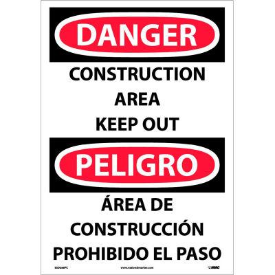 Bilingual Vinyl Sign - Danger Construction Area Keep Out