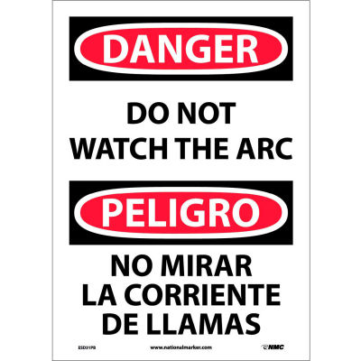 Bilingual Vinyl Sign - Danger Do Not Watch The Arch