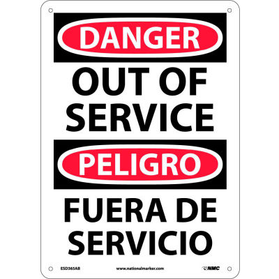 Bilingual Aluminum Sign - Danger Out Of Service