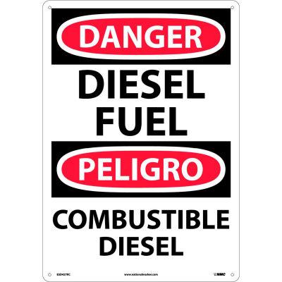 Bilingual Plastic Sign - Danger Diesel Fuel