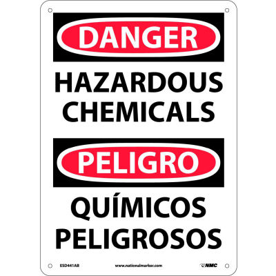 Bilingual Aluminum Sign - Danger Hazardous Chemicals